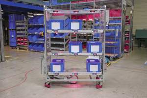 Der Lydia Picking Trolley vereint Pick-by-Voice und Put-to-Light in einer Anwendung. Bild: Topsystem