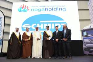 Zur Eröffnung der neuen Anlage in Bahrain kamen hohe Vertreter des Landes und der Schmidt-Gruppe. Von links: Dr. Dafer Al Jalahma (Chief Executive, Nogaholding), H.E. Khalid Al Rumaihi (Chief Executive, Bahrain Economic Development Board), H.E. Kamal bin Ahmed Mohamed (Verkehrsminister Bahrain), H.E. Shaikh Mohamed bin Khalifa Al Khalifa (bahrainischer Ölminister), Thomas Schmidt (Geschäftsleiter, Schmidt Gruppe) und Dr. Wolfgang Hoppmann (CEO