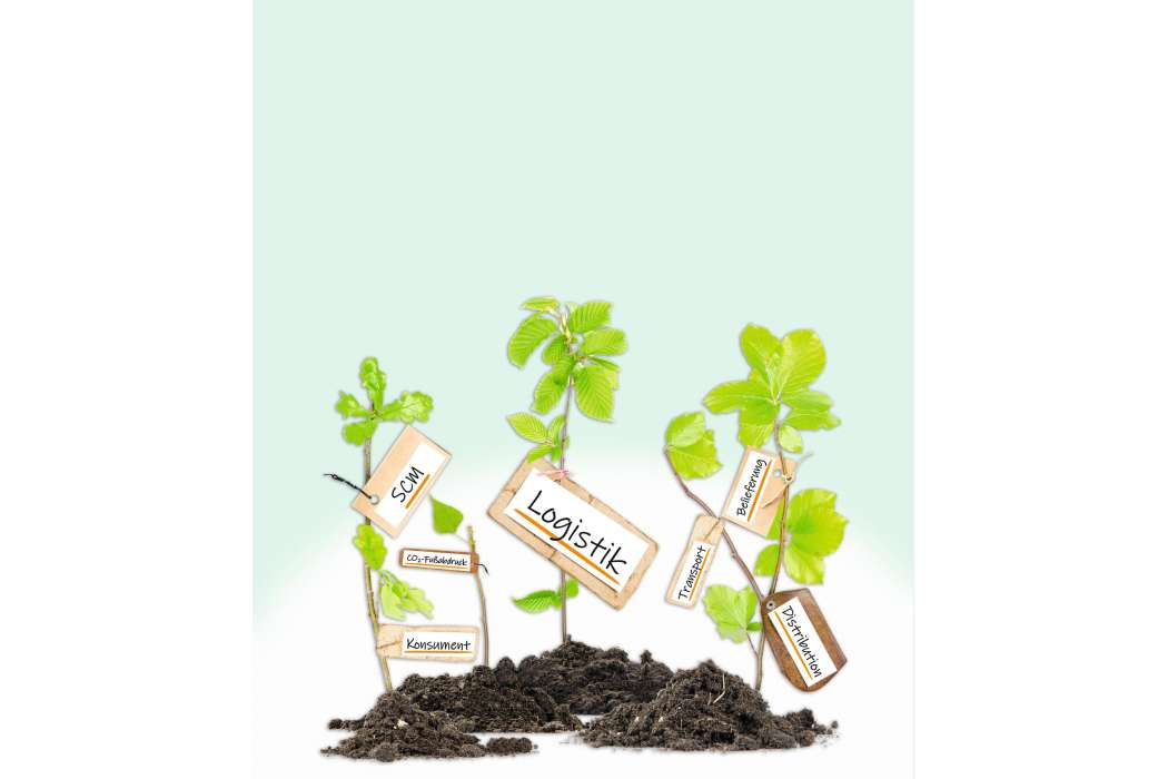 Photo of plants growing from soil heaps with LOGISTICS conceptual words written on paper cards Bild: EtiAmmos/AdobeStock, Montage: Bartl