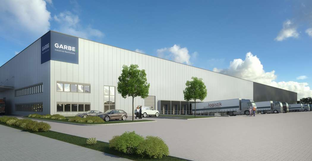 Mit einem neuen Logistikzentrum im tschechischen Chomutov will Garbe Industrial Real Estate in Osteuropa expandieren. (Visualisierung: Garbe Industrial Real Estate)